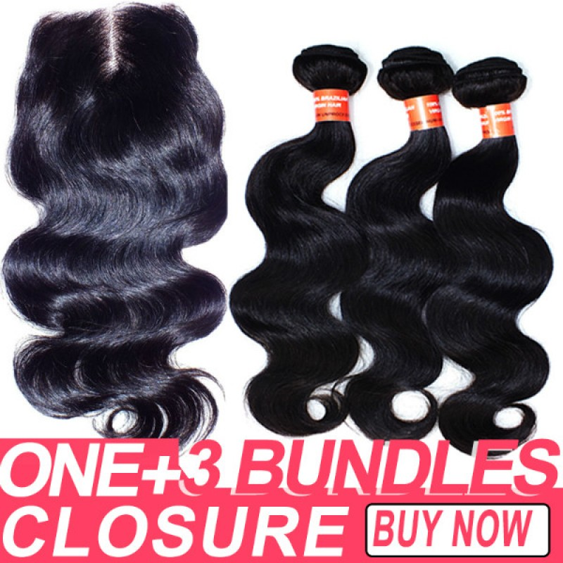 Natural Color Brazilian Hair Virgin Body Wave 1 Lace Closure And 3
